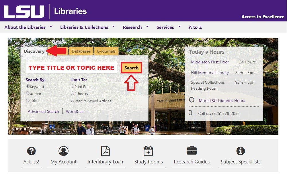 Library Homepage showing the Discovery tab