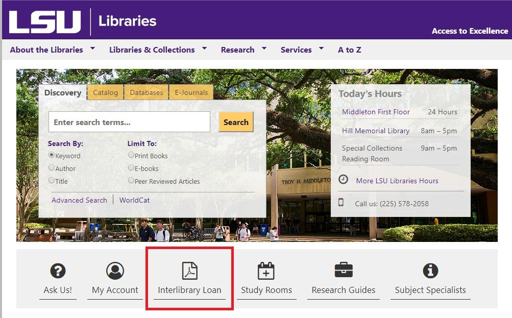 Library Homepage showing the Interlibrary Loan icon