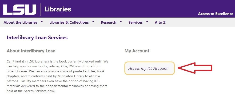 """interlibrary loan page highlighting the """"access my ILL account"""" link"""