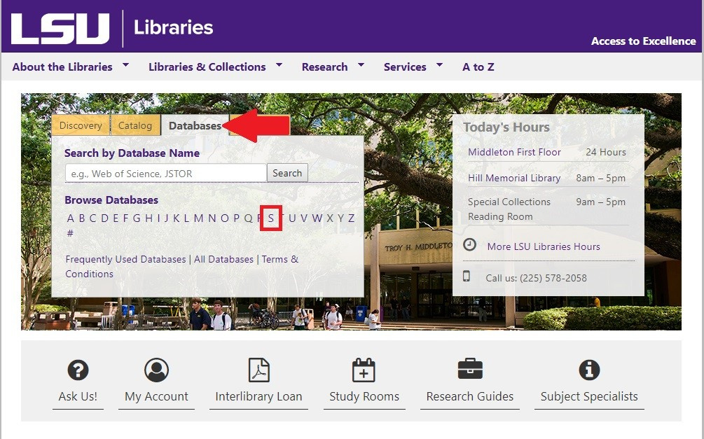 Library Homepage showing the Database tab