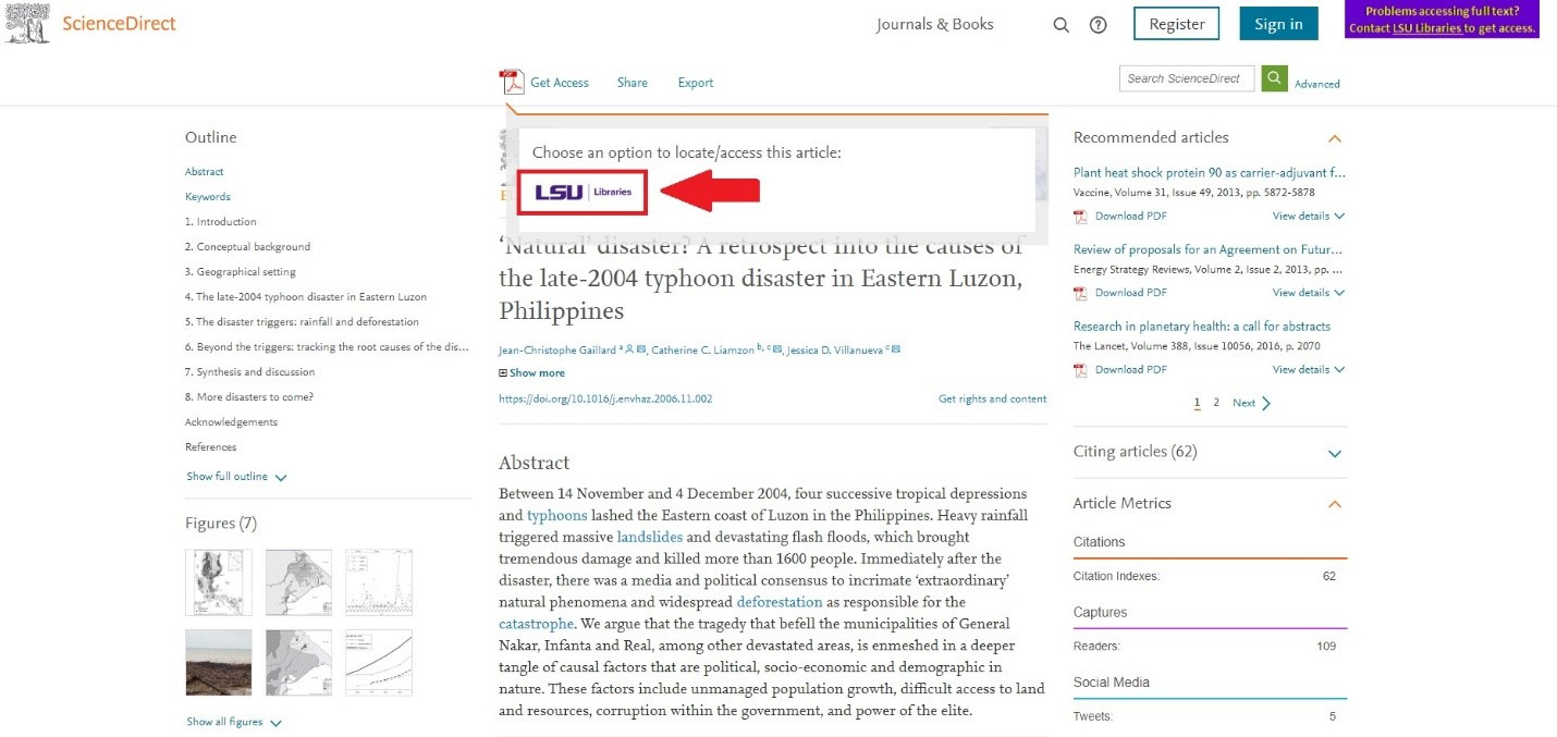 Science Direct article page highlighting the LSU libraries icon